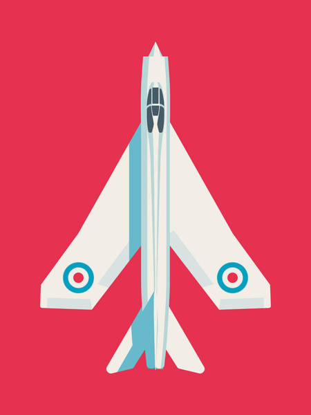 Wall Art - Digital Art - English Electric Lightning Fighter Jet Aircraft - Crimson by Ivan Krpan