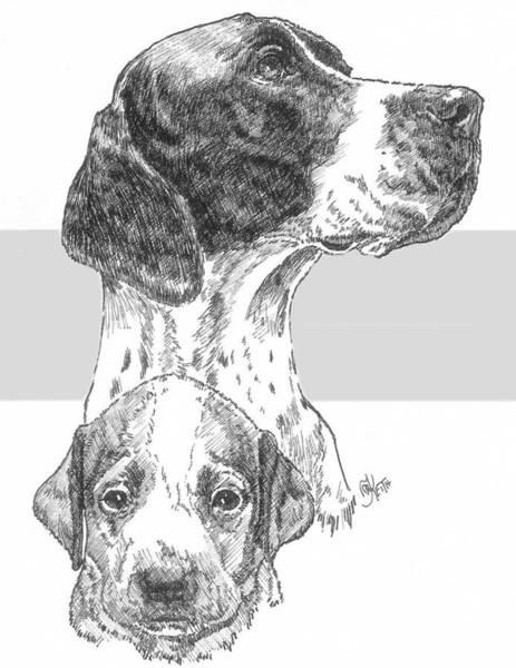 Drawing - English Pointer And Pup by Barbara Keith
