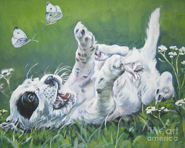 Cabbage White Painting - English Setter Puppy And Butterflies by Lee Ann Shepard