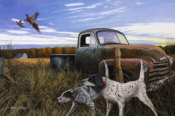 Painting - English Setters With Old Truck by Anthony J Padgett