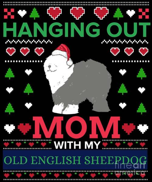 Ugly Digital Art - English Sheepdog Ugly Christmas Sweater Xmas Gift by TeeQueen2603