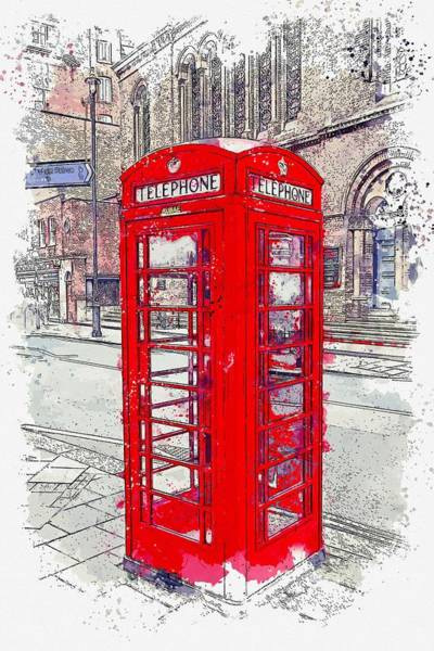 Wall Art - Painting - English Traditional Telephone Booth -  Watercolor By Ahmet Asar by Celestial Images