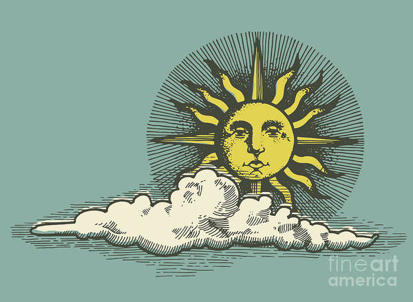 Engraved Sun And Clud In The Sky Vector Art Print