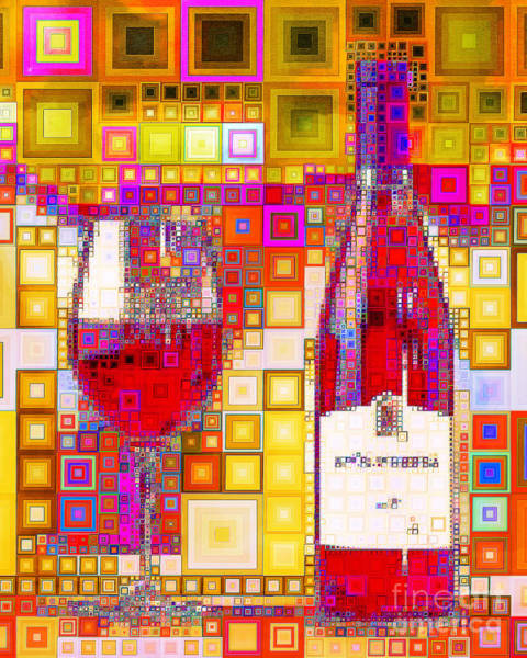 Wall Art - Photograph - Enjoy Wine In Abstract Squares 20190131a by Wingsdomain Art and Photography