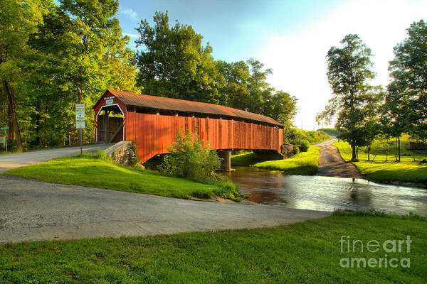 Wall Art - Photograph - Enslow Covered Bridge Landcape by Adam Jewell