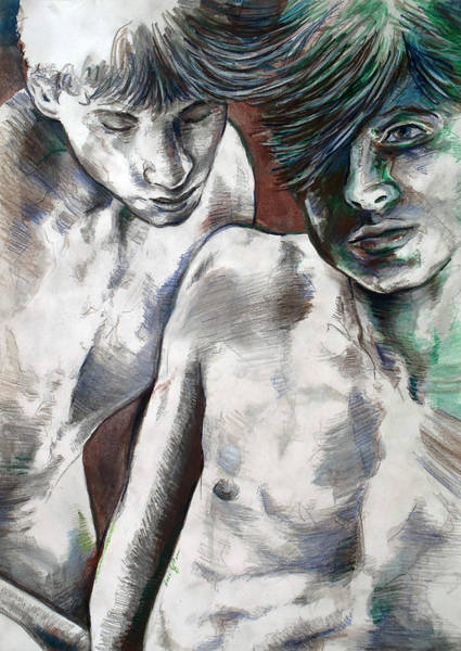 Painting - Entanged Boys by Rene Capone