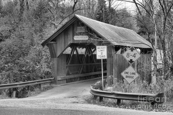 Photograph - Entering Emily's Covered Bridge Black And White by Adam Jewell