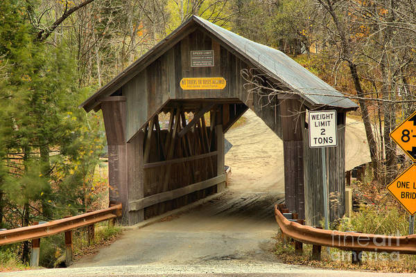 Photograph - Entering The Gold Brook Covered Bridge by Adam Jewell