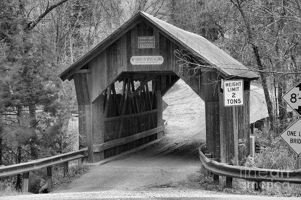 Photograph - Entering The Gold Brook Covered Bridge Black And White by Adam Jewell
