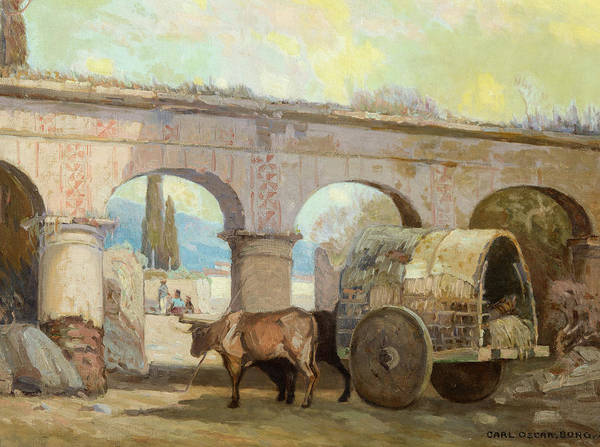 Ploughing Painting - Entering The Plaza by Carl Oscar Borg