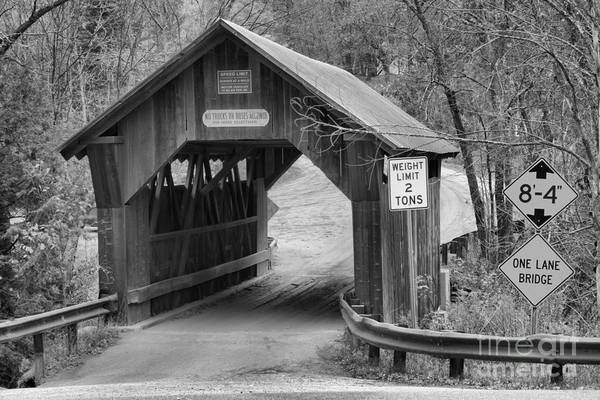 Photograph - Entering The Stowe Hollow Covered Bridge Black And White by Adam Jewell