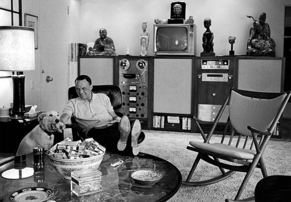 Horizontal Photograph - Entertainer Frank Sinatra Relaxing W by John Dominis