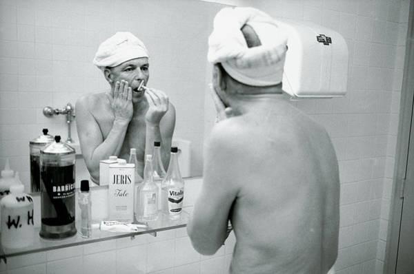 Photograph - Entertainer Frank Sinatra Shaving His by John Dominis