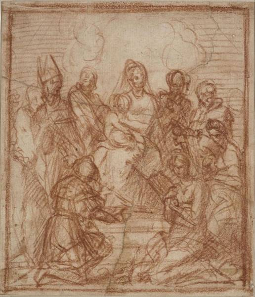 Wall Art - Painting - Enthroned Madonna With Child And Eight Saints  by Andrea del Sarto