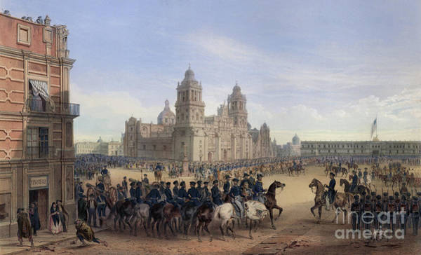Wall Art - Painting - Entrance Of General Scott Into Mexico City by Carl Nebel