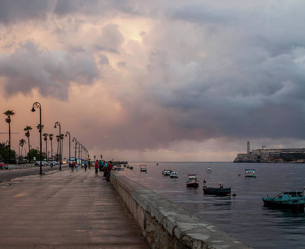 Entrada Photograph - Entrance To Havana Harbor With Malecon by Panoramic Images