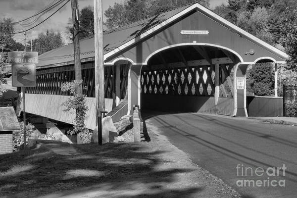 Photograph - Entrance To The Thompson Covered Bridge Black And White by Adam Jewell