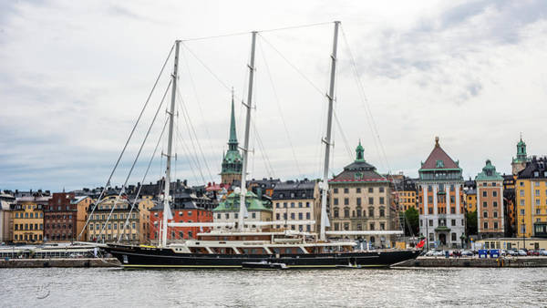 Photograph - Eos In Stockholm At Skeppsbron Quay With Gamla Stan In The Background by Torbjorn Swenelius