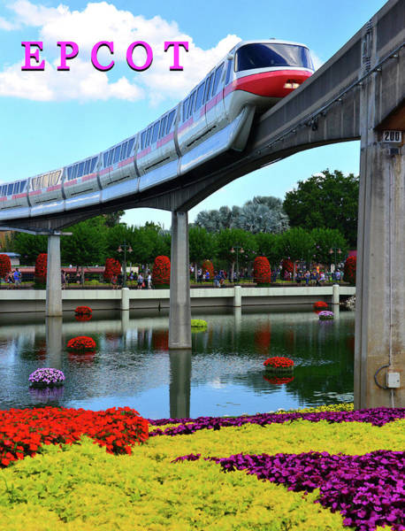 Epcot Center Wall Art - Photograph - Epcot And Flowers  by David Lee Thompson
