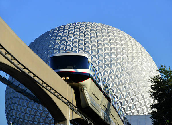 Epcot Center Wall Art - Photograph - Epcot And Monorail Black by David Lee Thompson