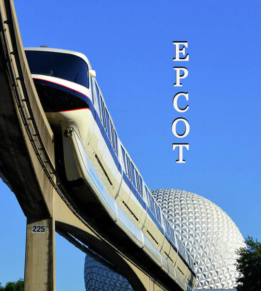 Epcot Center Wall Art - Photograph - Epcot And Monorail Vertical Work  A by David Lee Thompson