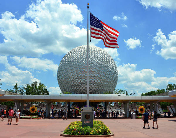 Epcot Center Wall Art - Photograph - Epcot Center Entrance And Plaque by David Lee Thompson