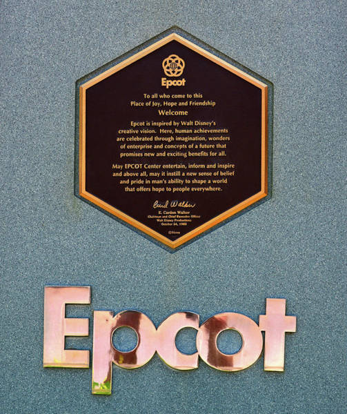 Epcot Center Wall Art - Photograph - Epcot Dedication Plaque 1982 by David Lee Thompson