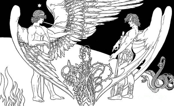 Wall Art - Drawing - Ephraim Moses Lilien Illustration Of The Angels, Gabriel On Left And Satan On The Right by Ephraim Moses Lilien