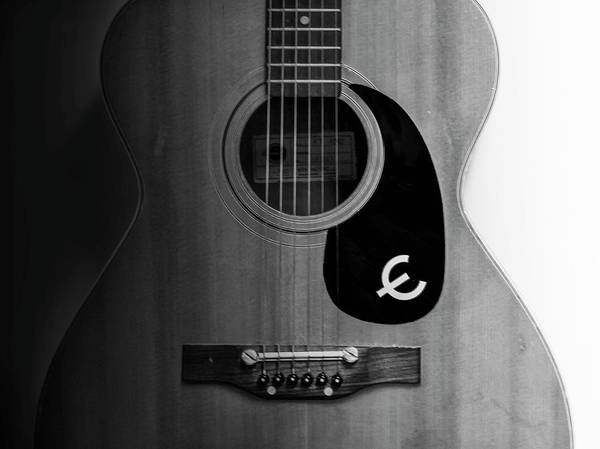 Wall Art - Photograph - Epiphone Acoustic Guitar In Black And White by Bill Cannon