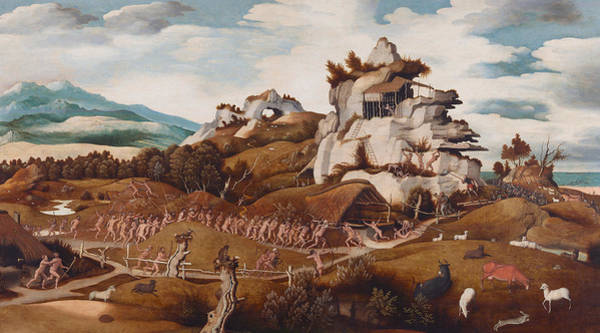 Wall Art - Painting - Episode From The Conquest Of America by Jan Mostaert