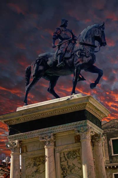 Photograph - Equestrian Statue Of Condottiere Bartolomeo Colleoni by Steve Estvanik