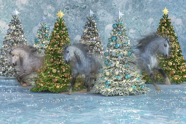 Dapple Digital Art - Equine Holiday Spirits by Betsy Knapp