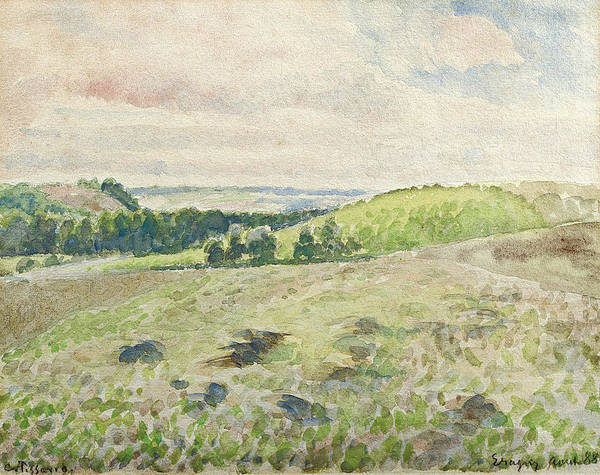 Ploughing Painting - Eragny, Ploughing Field, 1888 by Camille Pissarro