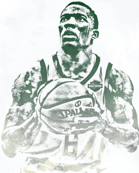 Wall Art - Mixed Media - Eric Bledsoe Milwaukee Bucks Water Color Pixel Art 1 by Joe Hamilton
