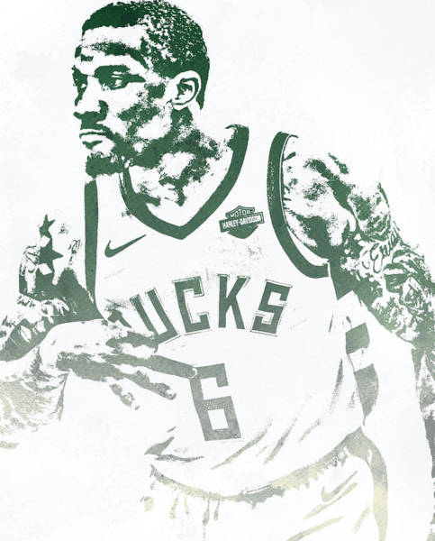 Wall Art - Mixed Media - Eric Bledsoe Milwaukee Bucks Water Color Pixel Art 2 by Joe Hamilton