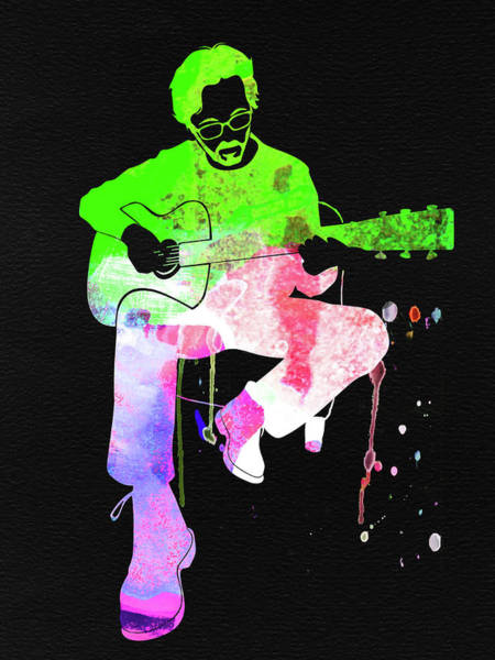 Rock And Roll Mixed Media - Eric Clapton Stone Watercolor by Naxart Studio