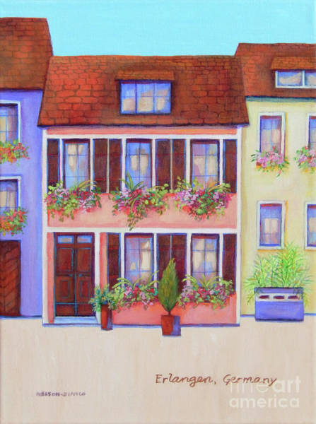 Wall Art - Painting - Erlangen Pink Row House by Sharon Nelson-Bianco