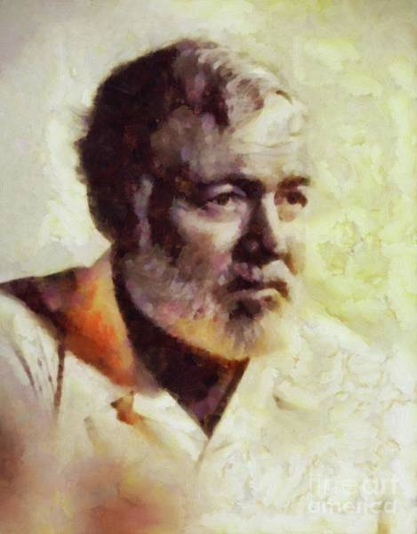 Wall Art - Painting - Ernest Hemingway, Literary Legend by Sarah Kirk