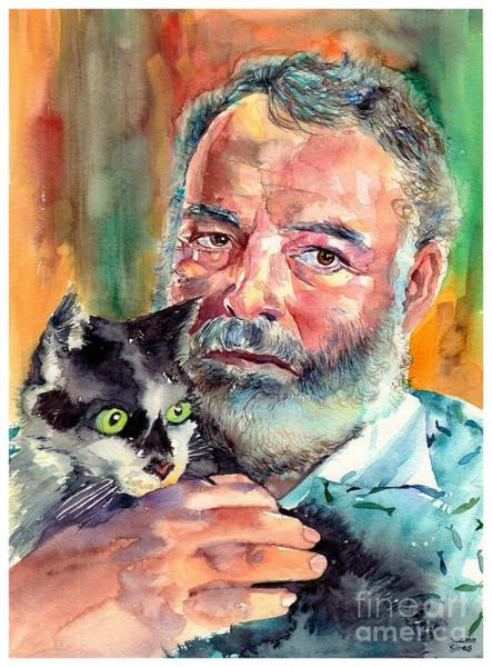 Writer Wall Art - Painting - Ernest Hemingway Portrait by Suzann Sines