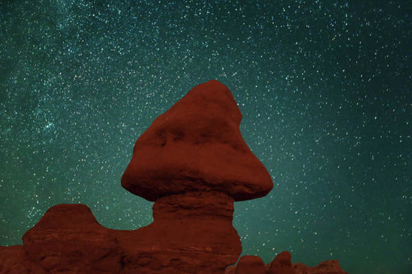 Goblin Valley State Park Photograph - Eroded Landscape Under Star Sky In by Frank Krahmer
