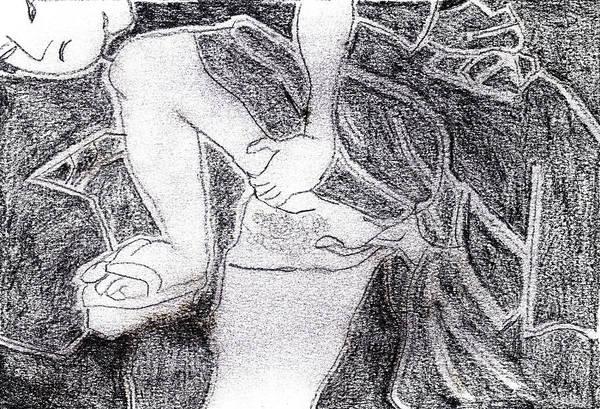 Drawing - Erotic Japanese Print Pencil Drawing 3 by Artist Dot