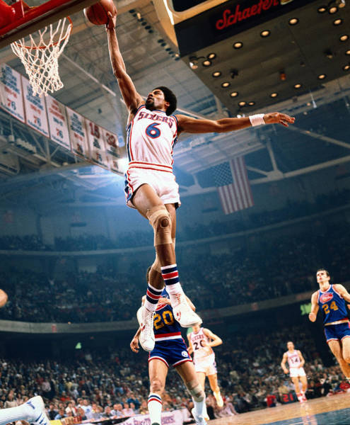 Sport Photograph - Erving Goes For A Dunk by Neil Leifer