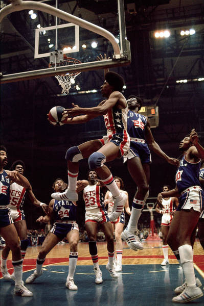 Vertical Photograph - Erving Goes For A Layup by Walter Iooss Jr.