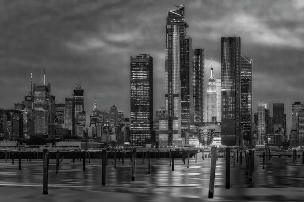 Photograph - Esb Nyc Hudson Yards Skyline Bw by Susan Candelario