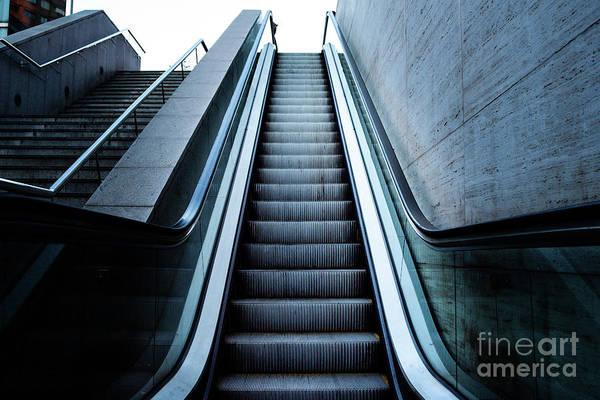 Photograph - Escalator Raising To The Sky, Concept Image Of Arrival To Success by Joaquin Corbalan