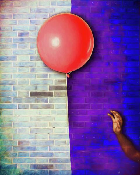Wall Art - Digital Art - Escape Of The Red Balloon by John Haldane