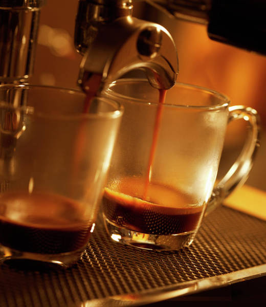 Coffee Photograph - Espresso Coffee Pouring In Two Cups by Gregor Schuster
