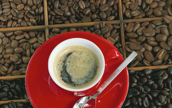 Wall Art - Photograph - Espresso On Assorted Coffee Beans by Maximilian Stock Ltd.