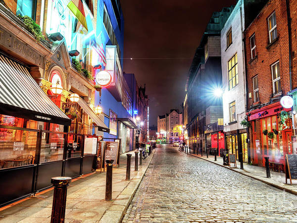 Wall Art - Photograph - Essex Street At Night In Dublin by John Rizzuto