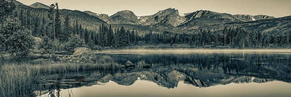 Wall Art - Photograph - Estes Park Colorado Mountain Range Landscape Panorama - Sepia Edition by Gregory Ballos